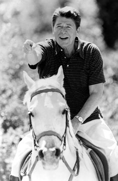 Ronald Reagan On Horseback, his face just makes me smile, he looks so funny here
