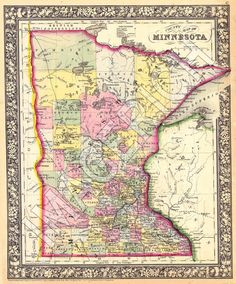 Vintage Minnesota map. #Minnesota #love #pride #StCloudMN #home #heart
