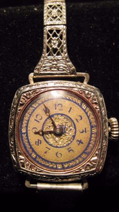 Beautiful Antique Ladies Cocktail Wrist Watch Silver Case 12K GF Band | eBay