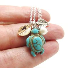 Initial Turtle Necklace, Monogrammed Stamped Leaf Charm,Turquoise Turtle, Pearl from 4Everinstyle