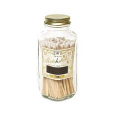"""These square, apothecary match bottles store 60, 4"""" matches, each with colorful tips with strike-on-bottle design. Available in white, black and red. 60, 4"""" Ma"""