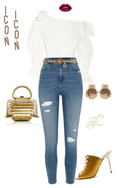"""""""Untitled #510"""" by sherristylz on Polyvore featuring Rejina Pyo, Gucci, Malone Souliers, Huda Beauty and Dsquared2"""