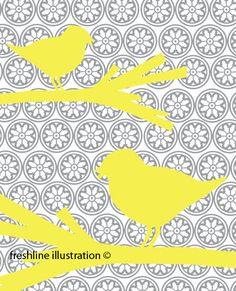 Yellow Birds on Gray Medallion Background 8x10 Art by Freshline, $18.95