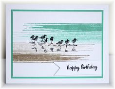 """By Becky, CASE'd from someone. Birds stamp from """"Wetlands"""" by Stampin' Up. Background stamp by Hero Arts, but she didn't give the name of the stamp. Perhaps I could get a similar look by swiping the pad across the paper."""