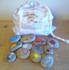 Once Upon a Story Stones, a wonderful activity to promote storytelling skills with children or an after dinner game for the young at heart!
