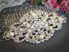 VILANA Victorian Wedding Hair Comb White Ivory by GlamorousBijoux, $78.00