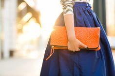 October Skies :: Royal blue skirt & Orange details :: Outfit :: Top :: J.Crew Bottom :: Partyskirts Bag :: Gorjana Shoes :: Manolo Blahnik Accessories :: Deborah Lippmann 'Fade to black' polish, Ann Taylor belt, ring thanks to Tacori! Published: September 16, 2013