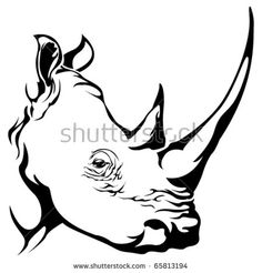 Rhino Stencil | Rhinoceros Head Outline Images & Pictures - Becuo