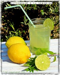 Citronnade à la verveine - Tout simplement bon Barbecue, Smoothies, Drinking, Food And Drink, Lime, Cocktails, Healthy, Sauce, Desserts