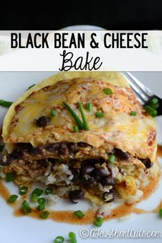 Simple and amazing weeknight dinner recipe. Try this easy Black Bean & Cheese Bake. Vegetarian & gluten free.