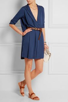 MICHAEL Michael Kors | Belted pleated silk dress | NET-A-PORTER.COM