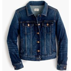 J.Crew Stretch Denim Jacket (£130) ❤ liked on Polyvore featuring outerwear, jackets, tops, distressed jacket, blue jackets, stretch denim jacket, j.crew and pocket jacket