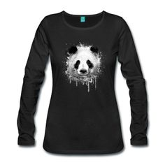Tee shirt manches longues Cool Artistic Panda Portrait conception d'aquarell #cloth #cute #kids# #funny #hipster #nerd #geek #awesome #gift #shop Thanks.