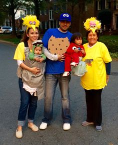 Happy Halloween! Sesame Street family costumes including grandma big bird! DIY