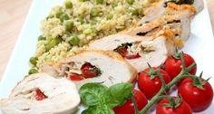 Ínyenc töltött csirkemell recept   APRÓSÉF.HU - receptek képekkel Cobb Salad, Meat, Chicken, Food, Essen, Meals, Yemek, Eten, Cubs