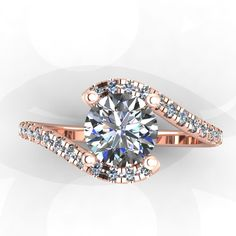 This made in white gold instead of rose gold and I'm def saying yes!  Love everything from EternityCollection on Etsy! 14k Rose Gold Diamond Engagement Ring with Moissanite Center  -Style 40RGDWSE. $1,225.00, via Etsy.