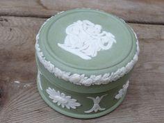 Wedgwood Green Jasperware Round Trinket Box, 3 Maidens by TiesofMyFather on Etsy