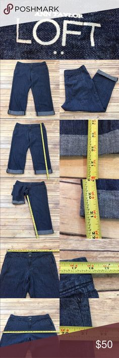 🌾Size 12 LOFT Med Wash Denim Cuffed Capri Pants Measurements are in photos. Normal wash wear, no flaws. A2/51  I do not comment to my buyers after purchases, due to their privacy. If you would like any reassurance after your purchase that I did receive your order, please feel free to comment on the listing and I will promptly respond.   I ship everyday and I always package safely. Thank you for shopping my closet! LOFT Jeans Ankle & Cropped