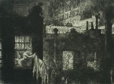 "Night Windows - JOHN SLOAN (American )- Etching, 1910, Morse 152 (v/V), edition 100. 5 3/8 x 7 in. Signed, titled and numbered ""100 proofs"" in pencil."