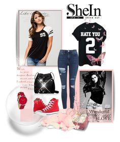 """""""Black T-Shirt"""" by belma0 ❤ liked on Polyvore featuring Full Tilt, Topshop, Kate Spade, Nixon, Converse and Pier 1 Imports"""