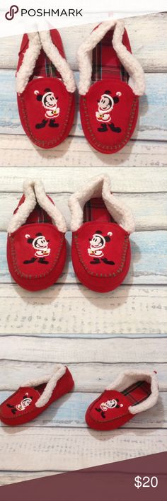 """DISNEY Mickey Mouse Holiday Fur Lined Slippers Disney Mickey Mouse dressed as Santa Clause fur trim holiday Christmas slippers. Perfect for opening gifts on christmas morning. Unisex. Mens 5/6 ladies 7/8. Excellent condition. Measures 11"""" long. No modeling. Smoke free home, I do discount bundles. Disney Shoes Slippers"""