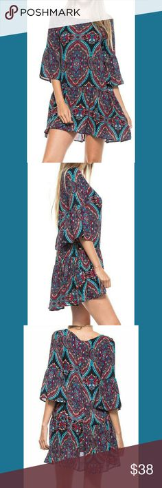 """Host Pick!! Paisley Print Bell Sleeve Tunic Dress Gorgeous print! Flowy dress. 100% Polyester. Length is 32"""" in front, and 34"""" in back. Restless Angel Dresses High Low"""