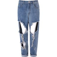 Mid Blue Distressed Boyfriend Jeans (680 ARS) ❤ liked on Polyvore featuring jeans, pants, bottoms, pantalones, blue, distressed jeans, destroyed boyfriend jeans, zipper jeans, relaxed jeans and blue jeans