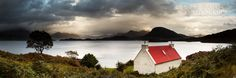 Loch Torridon Landscape Photography in Western Scotland. Landscape of a cottage with a red roof with a view of torridon and the mountains