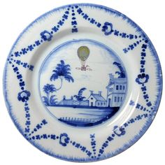 Antique English delftware pottery Balloon plate, London c1785 | From a unique collection of antique and modern pottery at https://www.1stdibs.com/furniture/dining-entertaining/pottery/