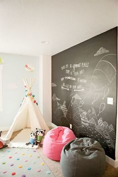 bean bag by the mural and make it a reading corner. Like the idea of a saying by it. and cute rug