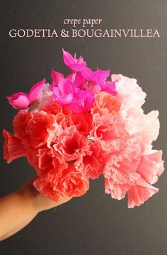 Tuto DIY Tiffanie Turner is back with a spectacular delivery of vibrant (end of summer) color! Check out Tiffanie's version of the classic bourganvilla embraced with lovely godetia to compliment. Learn how to re-create this beauty today Paper Peonies, Crepe Paper Flowers, Fabric Flowers, Crafts For Teens To Make, Diy And Crafts, Gem Crafts, Easy Crafts, Will Turner, Faux Flowers