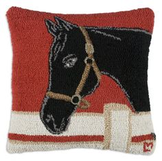 Show Horse Hand Hooked Wool Pillow