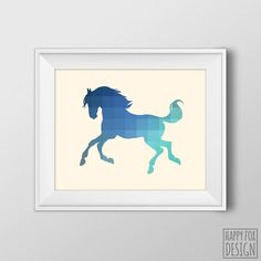 {Ordered in soft blue/peach/coral} Galloping Horse Art Print, 8x10 Printable Digital file, Wall art, Home decor, Blue, Teal, Cyan, Nursery art, Instant Download, Silhouette by HappyFoxDesign on Etsy https://www.etsy.com/listing/198868122/galloping-horse-art-print-8x10-printable
