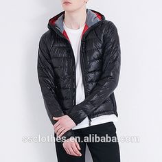 Source 2017 Fancy design men black comfy quilted down jacket with hood on m.alibaba.com