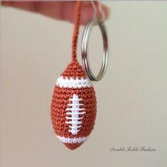 American football keychain. ☀CQ #crochet #amigurumi