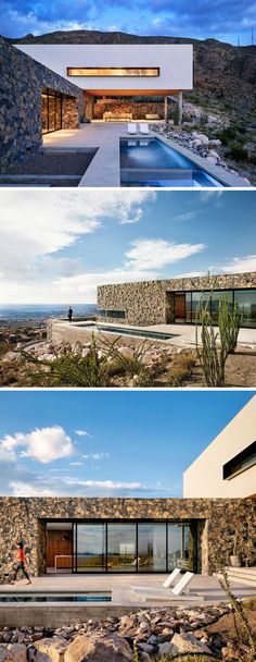The design of this modern house has a covered entertaining space, sheltered by the white volume of the level above it, as well as a pool and lounge deck that leads directly into the kitchen. The main level is covered in stone that helps the majority of the house blend into the rugged mountain landscape around it.