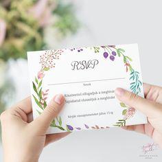 Akvarell Virágos Esküvői RSVP Válaszkártya - Esküvői Meghívó, Alkalmi és Családi Grafika Webáruház Wedding Rsvp, Response Cards, Place Cards, Place Card Holders