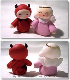 Happy Birthday Dear Sister, Ange Demon, Fondant, Polymer Clay, Sculpture, Blog, Half Angel Half Demon, Creative Crafts, Pottery