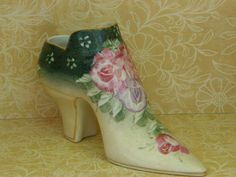Vintage Porcelain Shoe Vanity Vase Trinket Hat Pin Jar. $12.00, via Etsy.