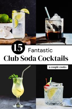 Here are the best club soda cocktails to make with this bubbly mixer! There's something for everyone, from classic drinks to modern spins. | alcoholic drinks | drinks | cocktails | club soda cocktails | tom collins recipe | mojito recipe | gin rickey recipe | spritzer cocktails | #clubsoda #clubosodacocktails #cocktails #sodawater #carbonatedwater Refreshing Cocktails, Classic Cocktails, Fun Cocktails, Yummy Drinks, Sour Cocktail, Cocktail Making, Cocktail Drinks, Gin Rickey Recipe, Mojito Recipe