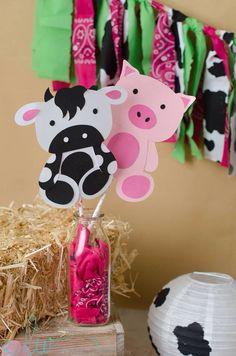 2 Farm Animal Centerpiece Sticks Farm Party by PrettyLittleWedding, $6.00