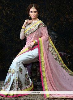 Endearing Pink And Off White Banarasi Silk Saree http://www.ethnicsaga.com/sarees/designer-sarees/endearing-pink-and-off-white-banarasi-silk-saree.html
