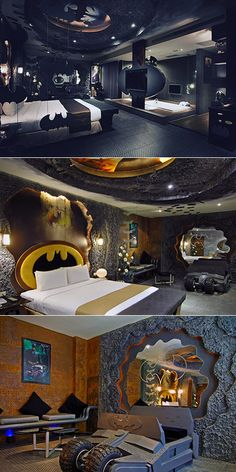 """You can pick up a costume online, and then just take the Batplane (""""I'm only using Jet Blue because the Batplane's in the Batshop, babe"""") to Kaohsiung City, Taiwan. That's where you'll find the Eden Motel and this delightfully Caped Crusader-themed room.  Seduce your Selina Kyle amidst the Batcave-textured cement walls, Dark Knight tumbler, and more black and yellow Bat signals than a busy night in Gotham City."""