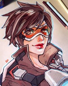"""Bianca Pallini su Instagram: """"Tracer from Overwatch  (Ps. Bought a new sketchbook and this brownish paper is SO amazing, definitely recommend it ) #overwatch #tracer #videogames #girl #drawing #sketch #art #pencil #draw #blizzard #design"""""""