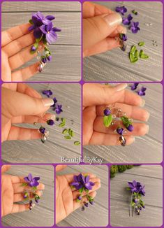 Diy violet hair pin with dangle polymer clay flowers made to order flowers polymerclay hair accessories wedding bridalhair diy tutorial purple handmade How to make wisteria flower earrings out of polymer clay – Artofit Handmade Polymer Jewelry, Flower j Polymer Clay Kunst, Polymer Clay Projects, Polymer Clay Creations, Diy Clay, Polymer Clay Flowers, Polymer Clay Earrings, Flower Tutorial, Diy Tutorial, Diy Wedding Flowers