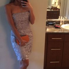 Silver Gray Lace Tube Evening Dress