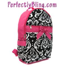 QUILTED FLORAL BACKPACK WITH BOW - PINK BACKPACK $24.99
