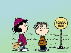 Linus and Lucy @ School Bus Stop
