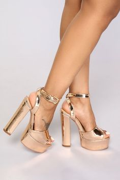 ankle straps for walking in extreme high heels T Strap Shoes, Ankle Strap Heels, Ankle Straps, Pumps Heels, Stiletto Heels, Rose Gold Heels, Gold High Heels, Lace Up Heels, Gold Chunky Heels