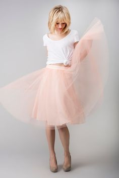 Babe Blush Tulle Skirt. I love everything in this, hair, shirt, shoes and SKIRT!!! ;)